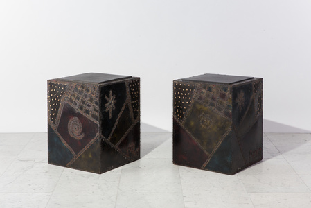 Pair of Custom Welded Steel End Tables