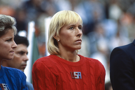 Czech tennis player Martina Navratilova appears in her home country for the first time in USA team colours at the Federation Cup championships in Prague, Czechoslovakia.