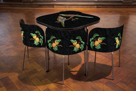 Pietre Dure; FUSION Table and Chairs, The Paradise Parrot.