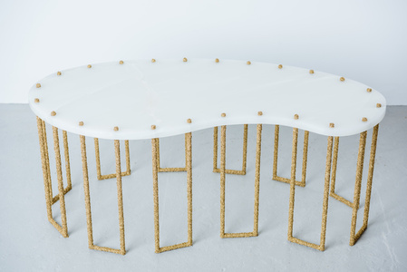 White Onyx and Brass Coffee Table