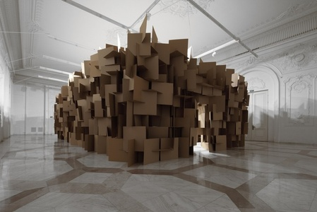 200 prepared dc-motors, 2000 cardboard elements 70x70cm