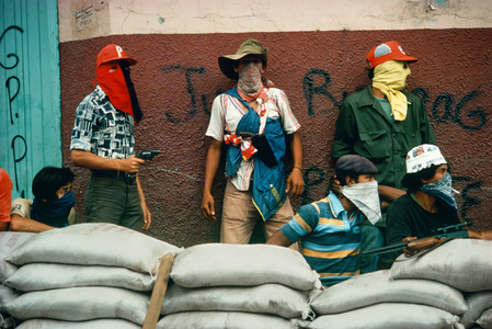 Muchachos await the counterattack by the National Guard. Nicaragua.