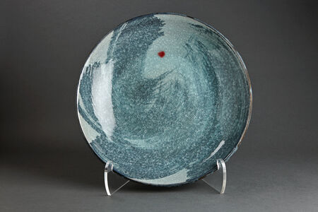 Plate, chalk and feldspar glaze with engobe brushwork
