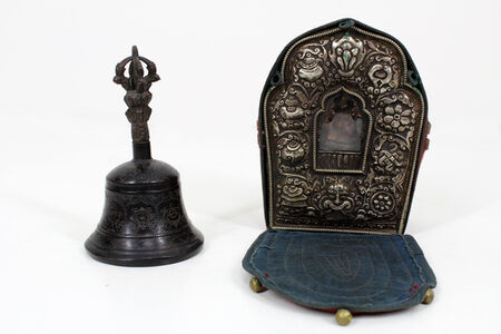 Antique Tibetan Buddhist Traveling Prayer Box & Bell