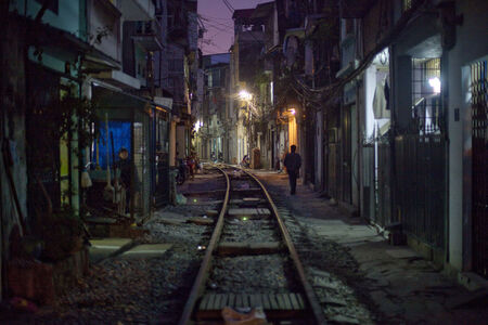 A view of a slum neighborhood along the railroad tracks in Hanoi, Vietnam.  The country's economy is still growing at seven percent, but double-digit price increases in food and other essentials are hurting the working class.