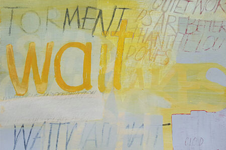 Untitled (yellow letters on a soft gray)