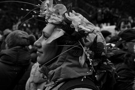 Lady and garland (Maslenitsa pagan festival, Moscow)