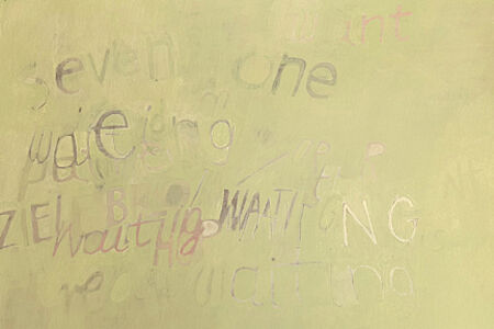 Untitled (words on a chalky green)