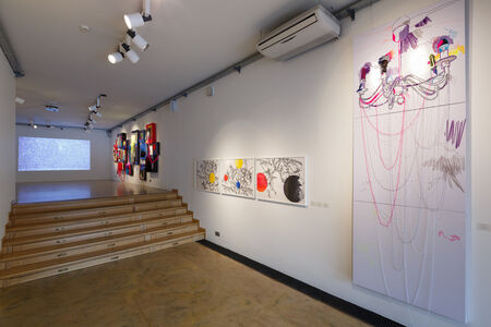 Flicker III. Exposition view.Textiles, embroidery, threads.