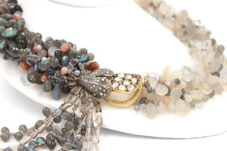 Labradorite Moonstone Sunstone Tanzanite Crystal Quartz Diamond Gold Necklace
