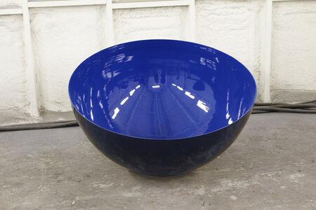 Outdoor Sculpture Medium Sized Ultramarine Sky Blue Singing Bowl by Marlene Hilton Moore