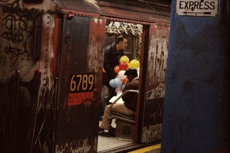 Balloons in the subway, New York