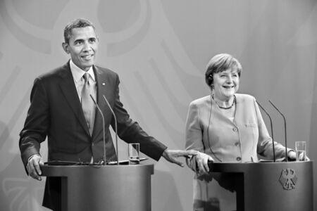 Der amerikanische Präsident Barack Obama und Bundeskanzlerin Angela Merkel bei der Pressekonferenz im Bundeskanzleramt