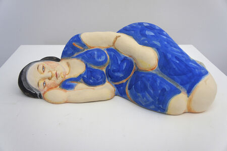 Sleeping Woman in Blue Dress with Black Hair