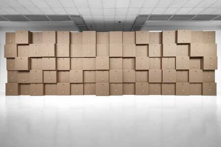 80 prepared dc-motors, cotton balls, cardboard boxes 71x71x71cm