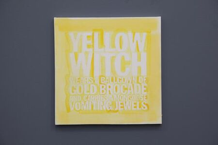 YELLOW WITCH WEARS A BALLGOWN OF GOLD BROCADE AND HOOLDS A MONGOOSE VOMITING JEWELS