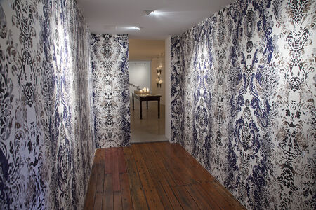 The Lucent Parlor: Damask Wallpaper (Installation View at Cade Tompkins Projects)