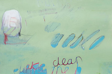 Untitled (words on sea green and blue)