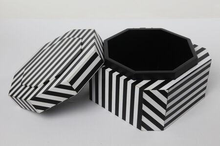 """Ziggurat Tower"" set of stacking boxes, Black Stripes edition"