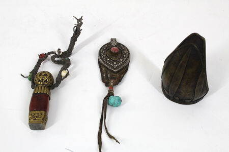 Antique Tibetan Objects - Traveling Seal, Ornament, Battle Arm Brace
