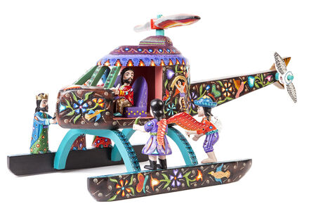 Nacimiento Helicóptero Woodcarving Mexican Folk Art Sculpture Nativity