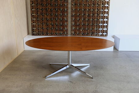 Florence Knoll Walnut Oval Dining Table