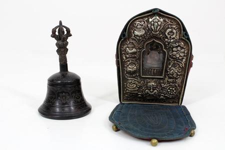 Antique Tibetan Buddhist Traveling Prayer Box & Bell
