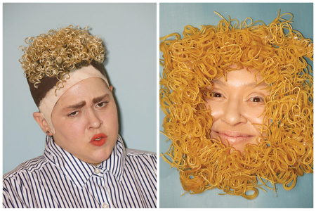 Self-portrait as Justin Timberlake and Self-portrait as Ramen Noodles in Justin Timberlake's Hair Totally Looks like Dry Ramen Noodles by benhuh