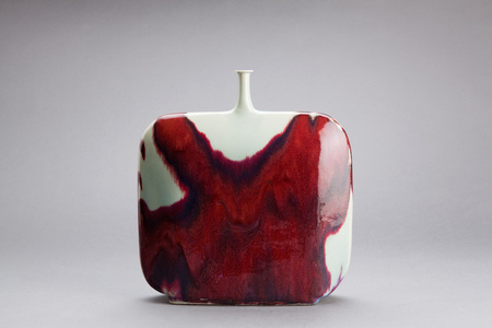 Flask form vase, copper red glaze
