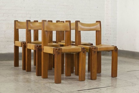 "Set of six ""S11"" chairs covered in leather"
