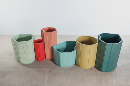 VASES series 3 (S3) MONOCHROME, SET OF 6 in limited edition of 40 - celadon, red, rose, turquoise, chartreuse, canard blue.