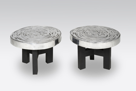 Pair of side Table in Aluminum By Ado Chale