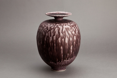 Vase, dark red textured nickel glaze