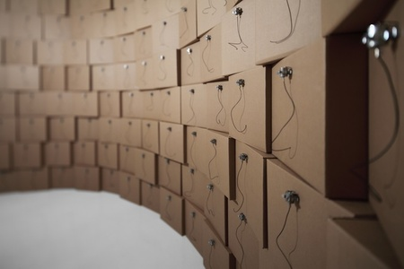 236 prepared dc-motors, cotton balls, cardboard boxes 41x41x41 cm
