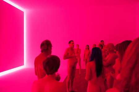 PHOTOGRAPHS IN PINK TURRELL EXHIBITION (RAEMAR PINK WHITE)  Preceded by a tour of the show by artist Stuart Ringholt, 6-8pm. (The artist will be naked. Those who wish to join the tour must also be naked.  Adults only.)  2011-ongoing Gallery tour and drinks, National Gallery Of Australia 2015 Collection Museum of Contemporary Art Sydney James Turrell  Raemar pink white  1969