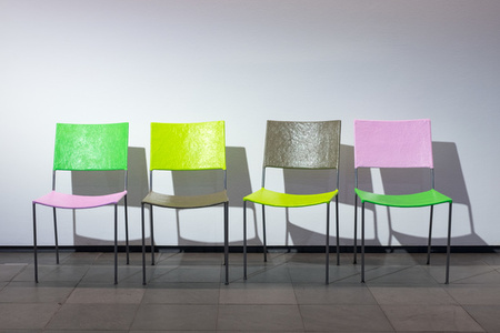 Jonathan Monk presents four chairs and a coat rack by Franz West