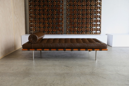 Brown Leather and Rosewood Daybed by Mies van der Rohe for Knoll