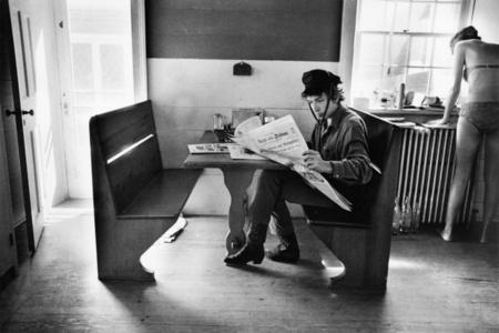 Bob Dylan Reading the Herald Tribune, Woodstock, NY