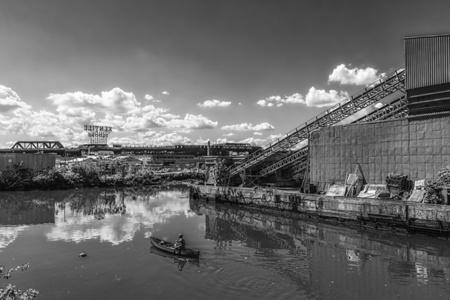 Rower on the Gowanus Canal, Brooklyn