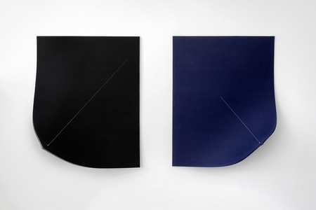 Work On Felt (Variation 9 and 10) Black and Midnight Blue (Diptych)