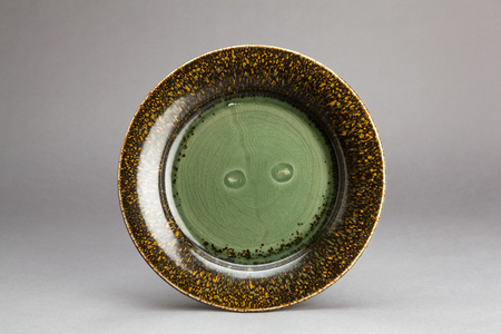 Plate with angels, celadon glaze