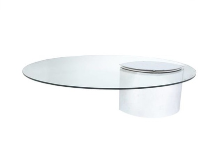 Cini Boeri Chromed Metal and Glass Lunario Low Table, For Knoll