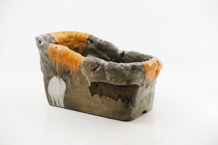 Sculptural Soaking Tub in Glazed Ceramic with Footstool