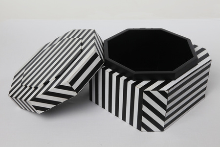 """Ziggurat Tower"" set of stacking boxes, Black Stripes edition"