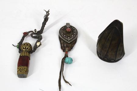 Antique Tibetan Objects - Traveling Seal, Ornament, Battle Arm Brace