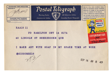 "@giogomez16 from the series ""Random Tweets Reformatted as Telegrams"""