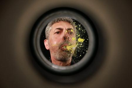 Artist behind the door