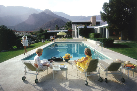 Poolside Glamour: Lita Baron, Nelda Linsk, Helen Dzo Dzo at the Richard Neutra-designed house of Edgar Kaufman