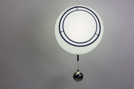 Pendant for Guzzini in White with Chrome Weight, 1970s