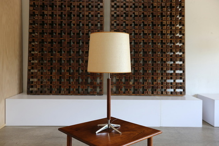 Walnut and Chrome Table Lamp by Gerald Thurston
